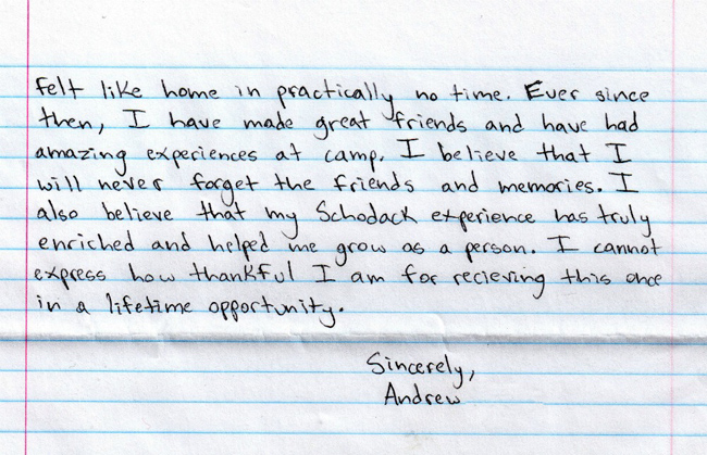 "A LETTER OF ""THANKS"" FROM AN SCI CAMPER"